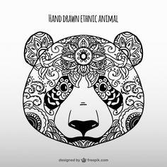 Hand drawn ethnic panda Free Vector