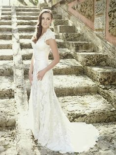 Allure gowns now available at Spotlight Formal Wear lace sheath with cap sleeves Wedding Gown Collection
