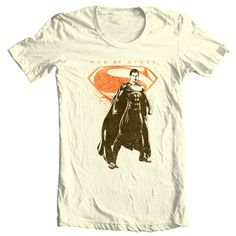491457a2d Superman Man of Steel T-shirt DC comics movie Justice League graphic tee  SM2112 -