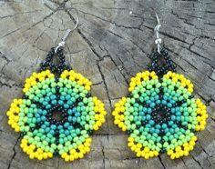 Yellow Green Handmade Flower Petals Earrings by MiCasitaDeChaquira, $10.00