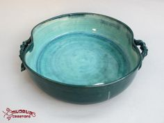 Casserole Dish for Two  Seafoam and Teal by MudbugCreations, $25.00