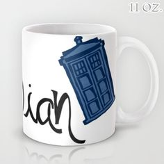 Dr. Who Tardis Whovian Mug 11/15oz Cup Tea Coffee Drink BBC Television Show TV Bright Blue Handwritten Funny Humor Doctor Gift for Geek Funny Humor