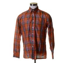 "Vtg GIVENCHY for CHESA Bright Orange Green Plaid SILK Button Dress Shirt 46"" L #Givenchy #ButtonFront"