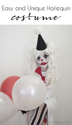 This is an easy & unique sad Harlequin costume using with a basic cotton shirt dress for my daughter since she dislikes regular textured costumes. Halloween Clown, Halloween Tanz, Cute Clown Costume, Best Girl Halloween Costumes, Clown Costume Women, Cute Clown Makeup, Creepy Halloween Costumes, Halloween 2018, Easy Halloween