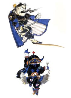 Final Fantasy VI - Yoshitaka Amano's chibi art for FFVI characters