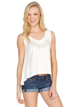The Sugarlips Wild Fields Top is an embroidered high low top, with cut out design on front. Looks amazing with worn denim and oversized clutch! #MyLuluCloset #Sugarlips #Storenvy #Sales #Tops