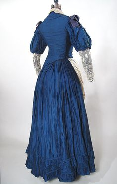 Two-Piece Victorian French Blue Cotton & Lace Bustle Dress from marzillivintage on Ruby Lane