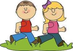 Kids Running at Recess Clip Art