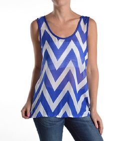 Look at this #zulilyfind! Royal Blue & White Sheer Chevron Tank by Elegant Apparel #zulilyfinds