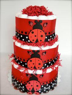 Diaper Cake  Unique Red & Black Ladybug by DomesticDivaDesignz, $75.00