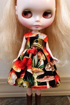 BLYTHE doll Its my party dress   red mushrooms by TiredMomKnits