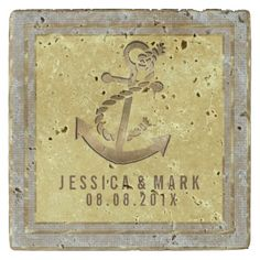 Gold Nautical Anchor Gold Frame Stone Coaster