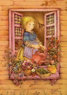 Boa noite,   encontrei no facebook The Rose Cottage essas imagens de pinturas de Lisi Martin, como adoro motivos infantis me apaixonei por e...