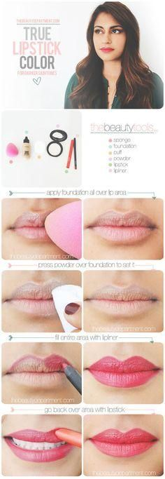 A great tutorial for how to achieve the true color of lipstick like it actually looks in the tube. (Great for girls with heavily pigmented lips!)