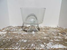 Modern Glass Bowl Pedestal Bowl Ice Bucket by VintageShoppingSpree, $40.00