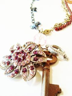 Vintage Assemblage Necklace The Key is Color, Creative Revival via Etsy.