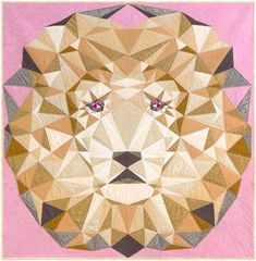 "Robert Kaufman Jungle Abstractions THE LION Fabric Quilt Kit 60"" x 60"" Violet Craft KITP-1744-14. Throw size quilt kit using Kona cotton. affiliate link."