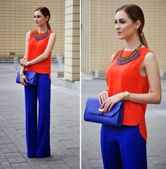 cobalt pants outfit with orange top and cobalt clutch This would look gorgeous on you! Cobalt Pants Outfit, Cobalt Blue Pants, Orange Pants Outfit, Orange Blouse, Bright Blue Pants, Blue Dress Pants, Blouse Outfit, Gray Pants, Long Pants