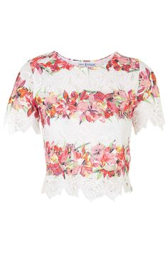 **Floral Print Crochet Top by Rare - Tops - Clothing - Topshop