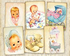 Vintage baby cards Greeting cards Gift tags Digital cards on Printable digital collage sheet best for paper craft, scrapbook made by FrezeArt