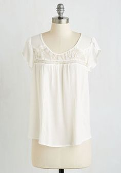 Lacy for You Top. Revel in all the loveliness that life has to offer in this darling ivory top! #white #modcloth