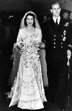 The Queen of #England and Prince Philip celebrating 65 years of marriage today. On her wedding day, the Queen wore a Norman Hartnell gown that cost around £1,200 – £23,000 at today's prices – and took a team of seamstresses seven weeks to make