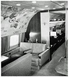 Lockheed Super Constellation, main lounge looking forward into the main cabin, 1956