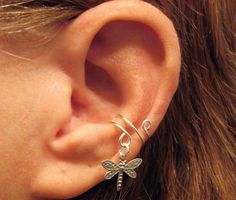 """Non Pierced Sterling Silver Ear Cuff  """"Dragonfly"""" Cartilage Conch Cuff Upcycled Vintage #jewelry #arianrhodwolfchild #piercing #cartilage #earrings #earcuff  #dragonfly #sterling"""