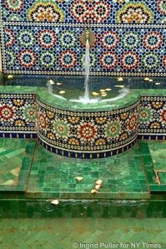 Looking for fountains within pools artnlight: Dar Khalifa, A Caliph's house in Casablanca Moroccan Design, Moroccan Style, Mosaic Art, Mosaic Tiles, Mosaics, Mosaic Crafts, Drinking Fountain, Tadelakt, My Pool
