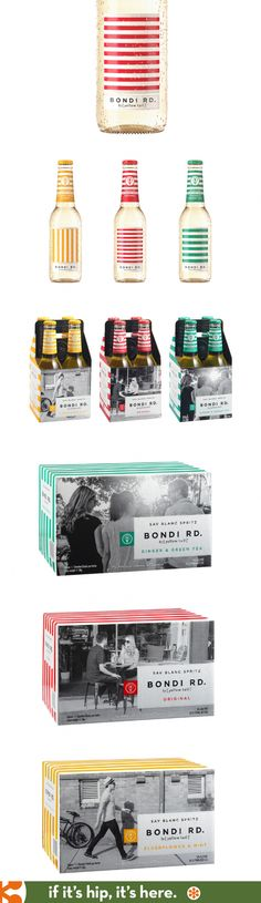Bondi Rd. Wine Spritzers from Yellow Tail. Bottle and package design by The Creative Method.