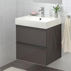 GODMORGON / BRÅVIKEN Wash-stand with 2 drawers - high-gloss grey, Brogrund tap - IKEA Steel Seal, Recycling Facility, Plastic Foil, Wash Stand, Plastic Drawers, Polypropylene Plastic, Basin Mixer Taps, Drawer Fronts