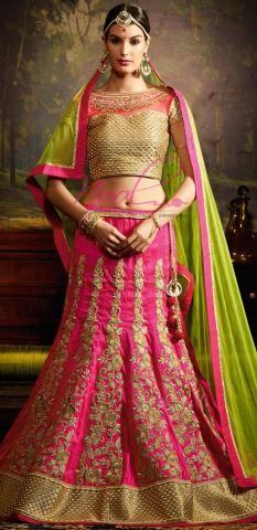 Weddign Ghagra Choli Pink Art Silk Lehenga Semi Stitched SF3264D18984
