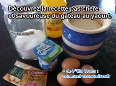 Suivez ma savoureuse recette de gâteau au yaourt pour cuisiner un bon dessert en 1 h. Voici les ingrédients pour 4 personnes en prenant les mesures en pot de yaourt.  Découvrez l'astuce ici : http://www.comment-economiser.fr/recette-pas-chere-gateau-au-yaourt.html?utm_content=buffer57497&utm_medium=social&utm_source=pinterest.com&utm_campaign=buffer