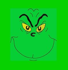 grinch face template | Items similar to Mean One Grinch Face Digitized Embroidery Design 4x4 ...