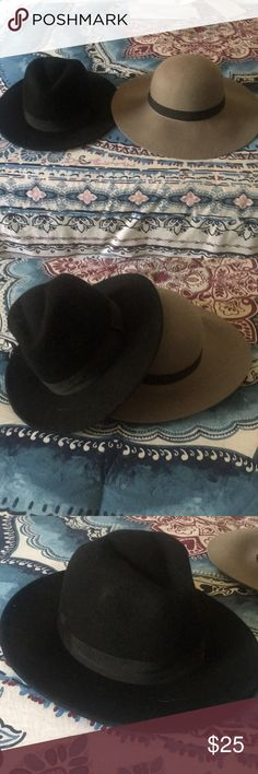 Two wool floppy hats bundle Never worn Grey floppy hat is by cotton on  Black HM floppy hat size large  Really cute for anytime of the year. Cotton On Accessories Hats