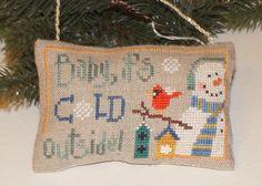 Christmas Ornament   cross stitch Snowman. £10.00, via Etsy.