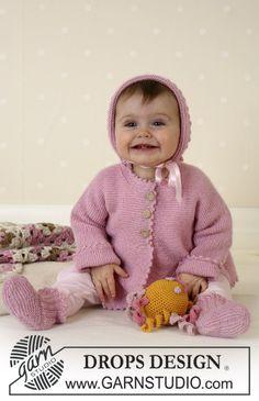 Josie / DROPS Baby 14-7 - Casaco, Botinhas, Touca DROPS em Alpaca