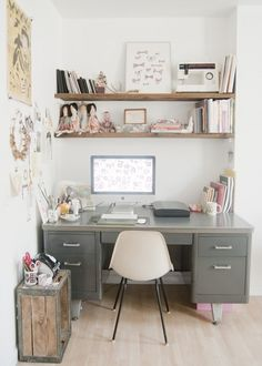 I see metal desks thrifting all the time!! who knew they could look so cute in the right space