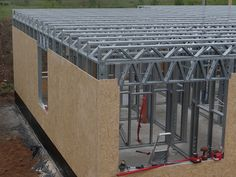 Steel Frame House, Steel House, Steel Building Homes, Building A House, Diy Wooden Shelves, Steel Framing, Insulated Concrete Forms, Steel Trusses, Concrete Stairs