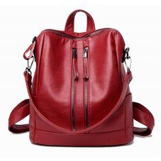 Korean Casual Backpack Women Genuine Leather Bag High Quality Women Backpack Mochila Feminina School Bag For Teenagers Leather Backpack Purse, Backpack Bags, Leather Backpacks, Tactical Bag, Casual Bags, Pu Leather, Leather Bags, Leather Fashion, Large Bags