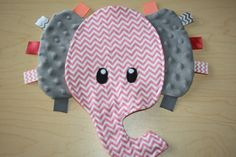 Elephant Coral Chevron lovie with gray Minky ear color