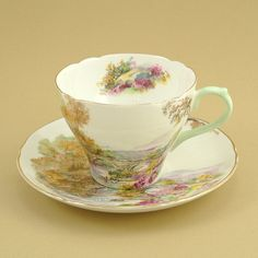 Vintage Shelley Tea Cup and Saucer  Heather by ChatsworthVintage,   -cc