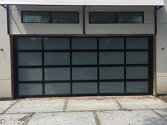 Contemporary Black Aluminum & White Laminate (Privacy) Glass Garage Do – Lux Garage Doors Glass Garage Door, Garage Door Design, Modern Garage Doors, Modern Door, Garages, The Doors, Front Doors, Sliding Doors, Raised Bed Garden Design