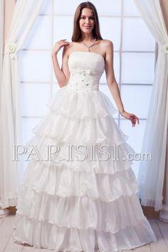 vestidos de novia Sin tirantes Cristals Cascade Organza Corte A Encaje Hasta Suelo Sin Mangas Marfil Elegante Moderno Glamouroso