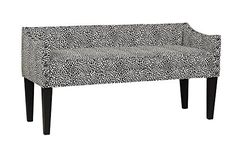 Whitney Upholstered Bench in Tiny Leaves Onyx - Leffler Home transitional style of the Whitney settee allows it to blend into any home's existing decor. Hand-crafted in the USA, this settee bench is constructed with wood frame and legs.