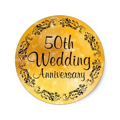 #black   #Fancy Gold 50th Wedding Anniversary Sticker Seal