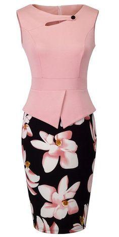 Homeyee® Women's Elegant Chic Bodycon Formal Dress B288 (L, Light Pink)