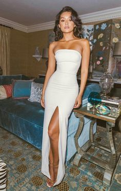 evening Dresses, Party prom dress with slit ,white prom dress - PROM - kleid Pretty Dresses, Sexy Dresses, Beautiful Dresses, White Prom Dresses, Sexy White Dress, Fitted Dresses, White Evening Dresses, Makeup With White Dress, White Mermaid Prom Dress