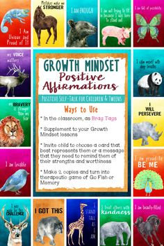 Growth Mindset Brag Tags and Positive Affirmations for Children and Tweens