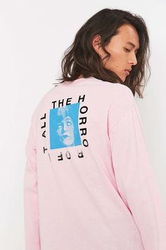 Division of Labor Horror Pink Long Sleeve Tee - Urban Outfitters
